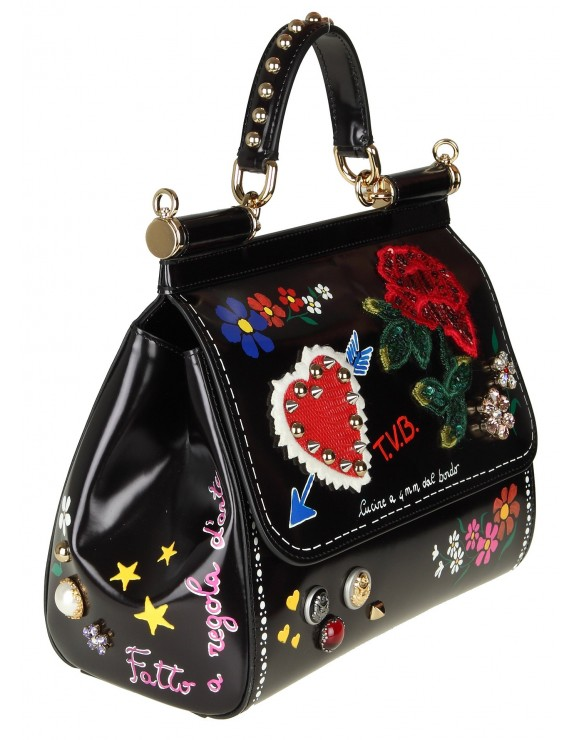 DOLCE & GABBANA BORSA SICILY MEDIUM IN VITELLO LUCIDO CON DECORI