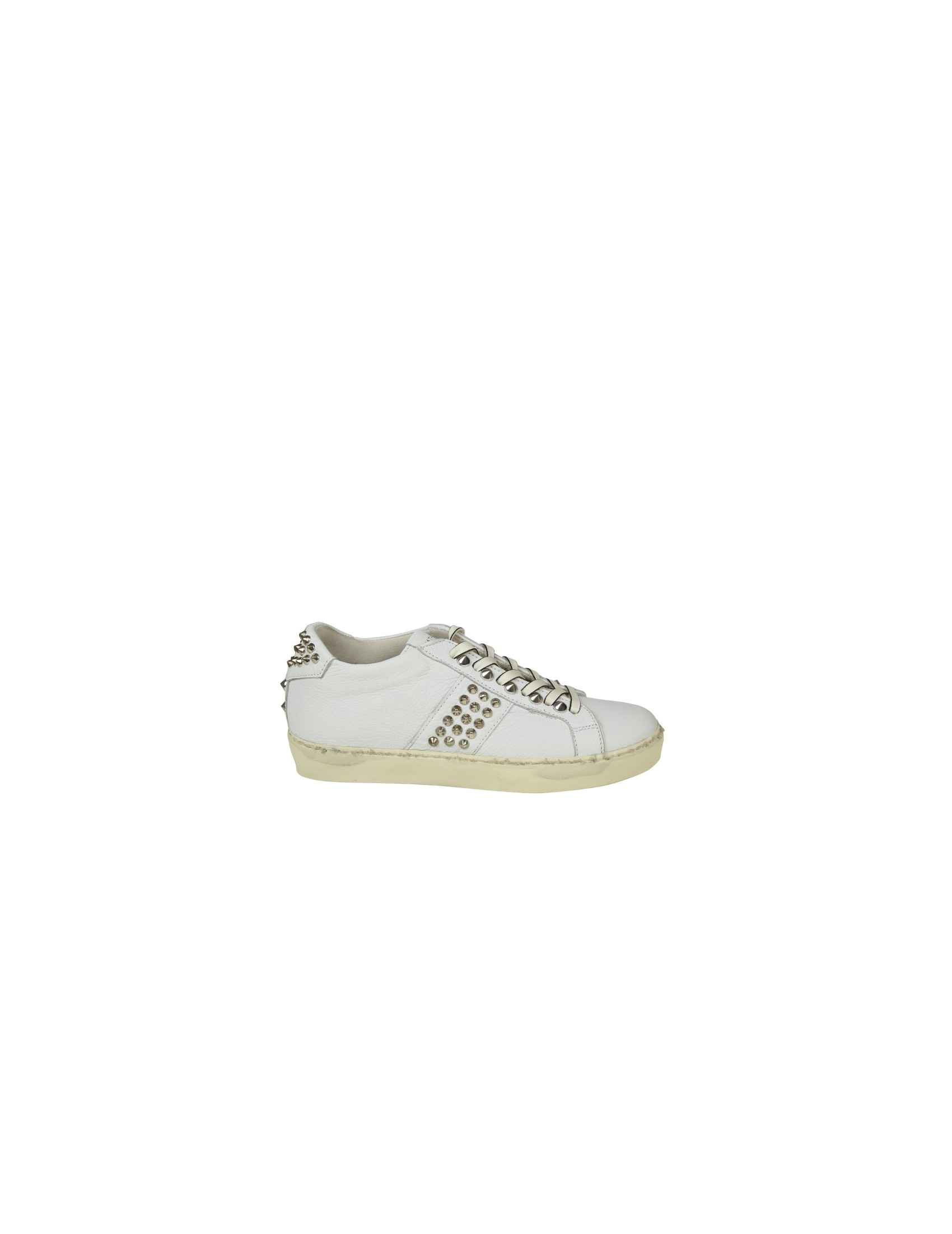 LEATHER CROWN SNEAKERS IN PELLE CON BORCHIE COLORE BIANCO bab5c11bd4a