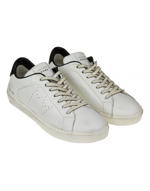 LEATHER CROWN SNEAKERS IN PELLE COLORE BIANCO