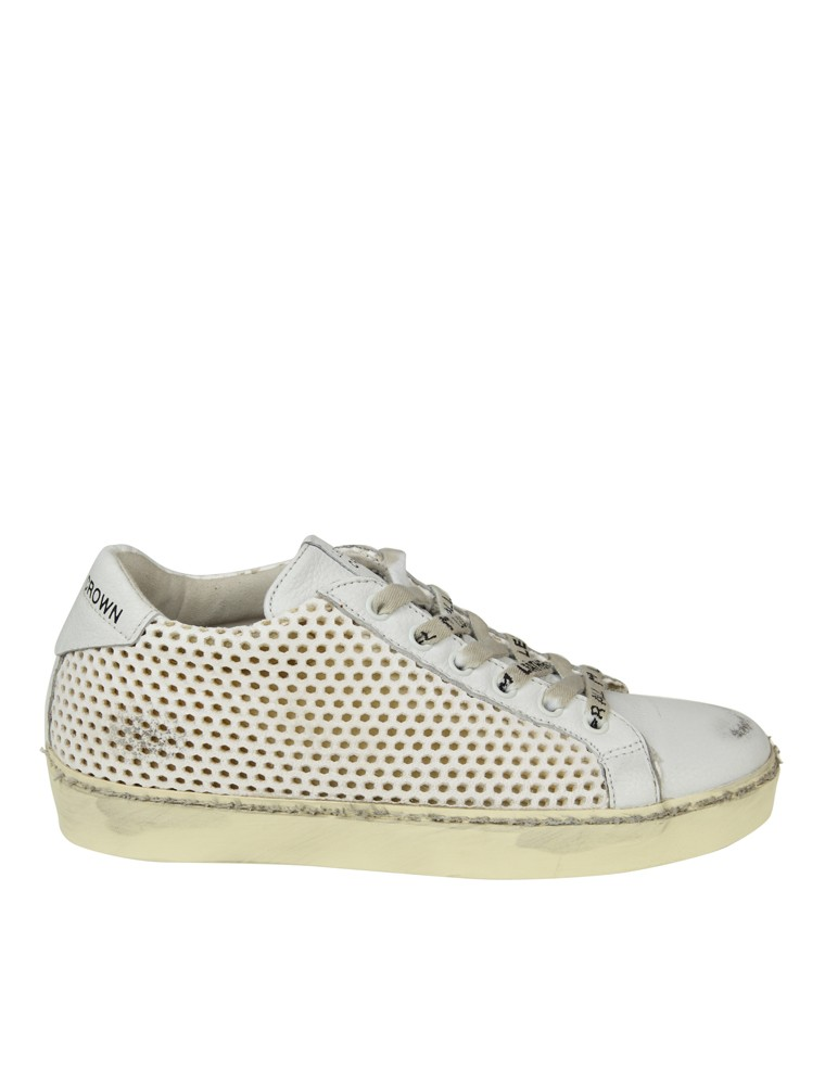 LEATHER CROWN SNEAKERS IN PELLE TRAFORATA ...