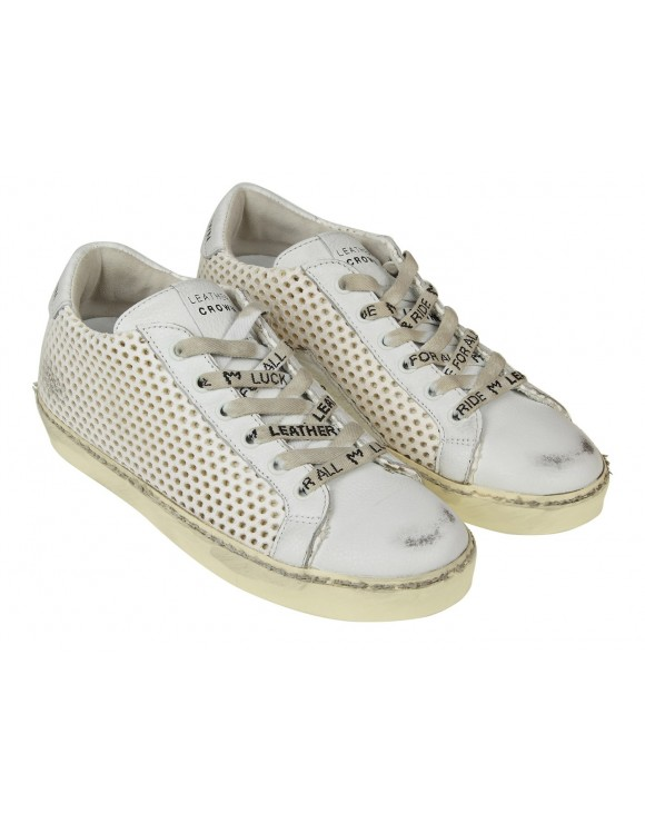 LEATHER CROWN SNEAKERS  IN PELLE TRAFORATA