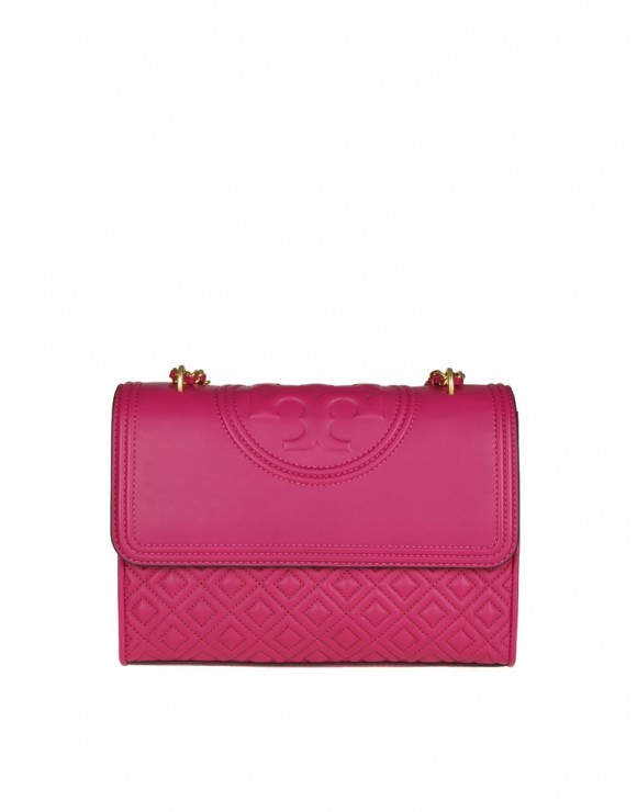 "TORY BURCH BORSA A TRACOLLA ""FLEMING"" IN PELLE COLORE FUCHSIA"