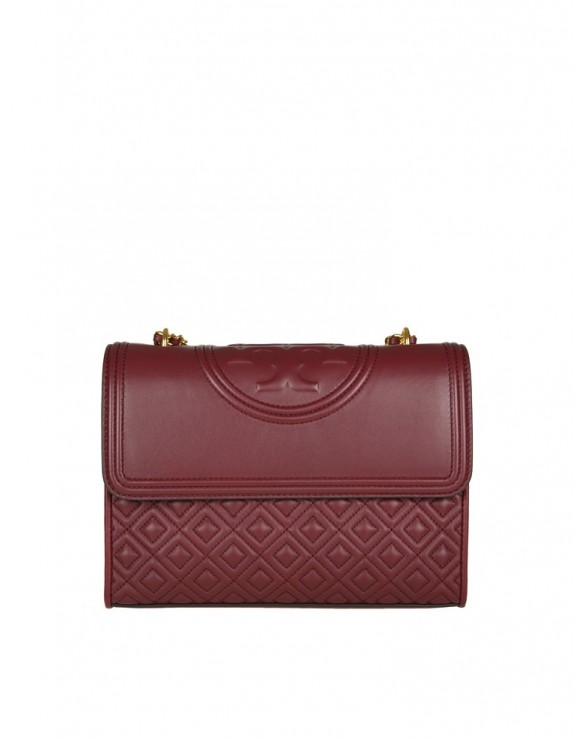 "TORY BURCH BORSA A TRACOLLA ""FLEMING"" IN PELLE COLORE GARNET"