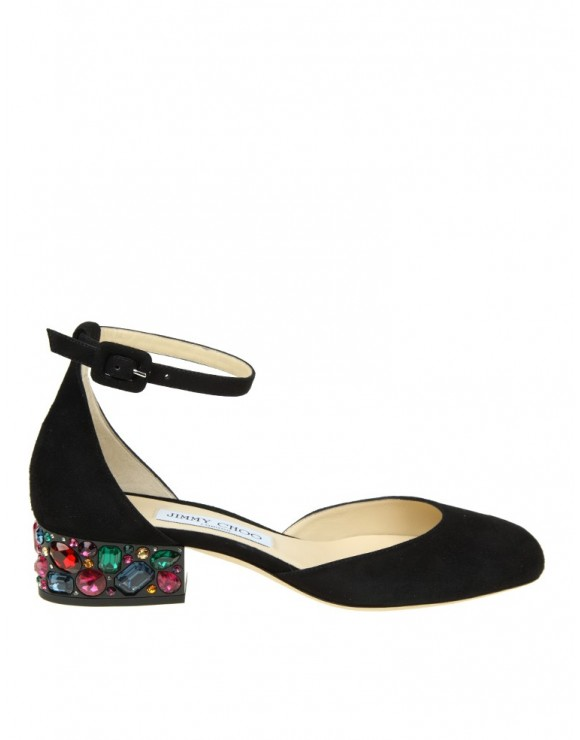 """JIMMY CHOO SHOE """"MARNIE"""" IN BLACK SUEDE WITH STONES"""