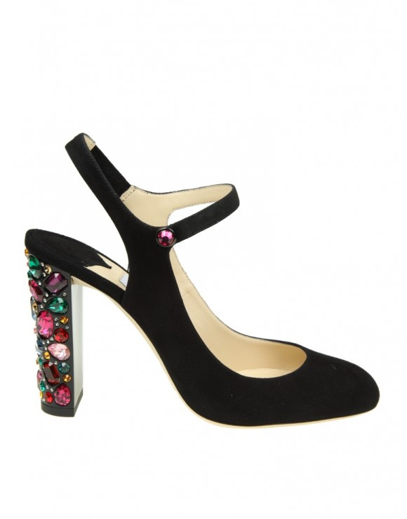 JIMMY CHOO DECOLLETE IN CAMOSCIO NERO CON PIETRE