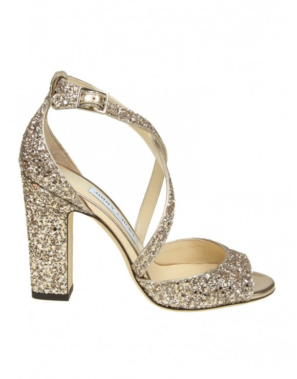 "JIMMY CHOO SANDALO ""CARRIE 100"" IN GLITTER ROSA"