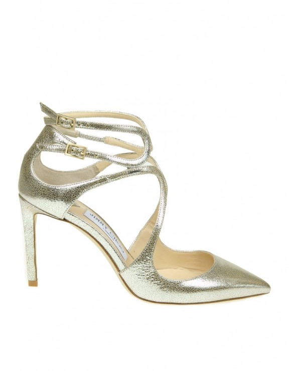 "JIMMY CHOO SANDAL ""LANCER 85"" IN CHAMPAGNE COLOR LEATHER"