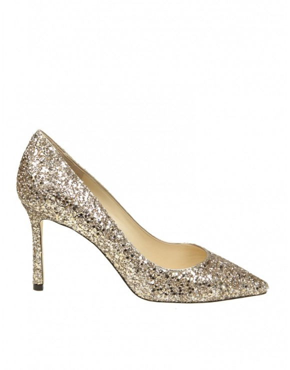 "JIMMY CHOO DECOLLETE' ""ROMY 856"" IN GLITTER ORO"