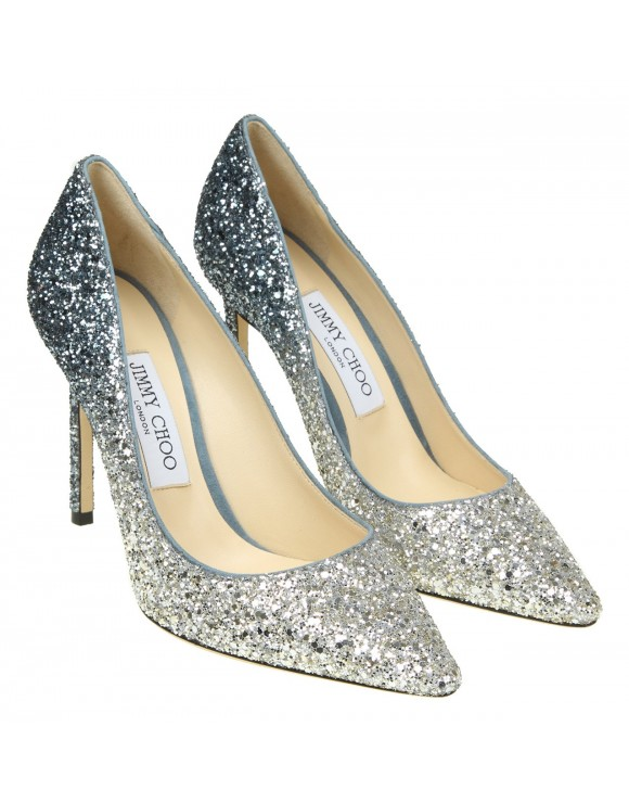 "JIMMY CHOO DECOLLETE' "" ROMY 100"" IN GLITTER SILVER"