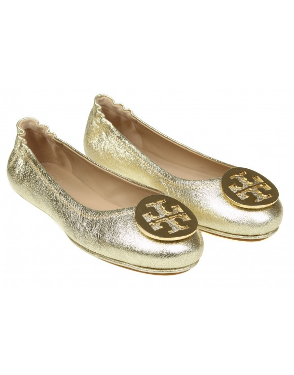 TORY BURCH BALLERINA MINNIE IN MORBIDA PELLE DORATA