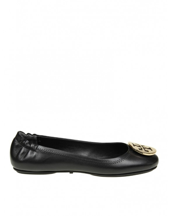 TORY BURCH BALLERINA MINNIE IN MORBIDA PELLE NERA