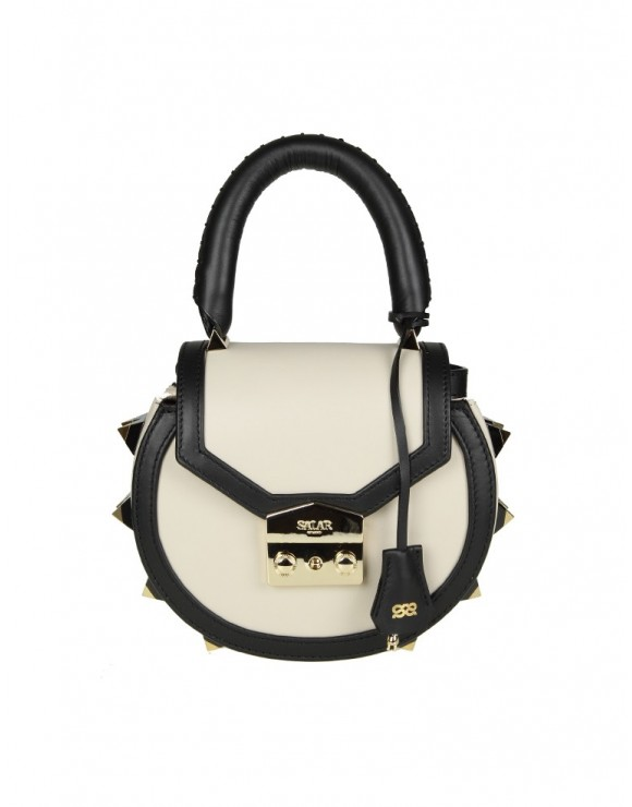 SALAR BORSA MIMI BOLD IN PELLE CREMA CON BORCHIE APPLICATE
