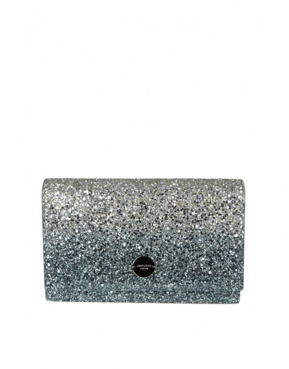 JIMMY CHOO POCHETTE FLORENCE IN SILVER AND BLUE GLITTER