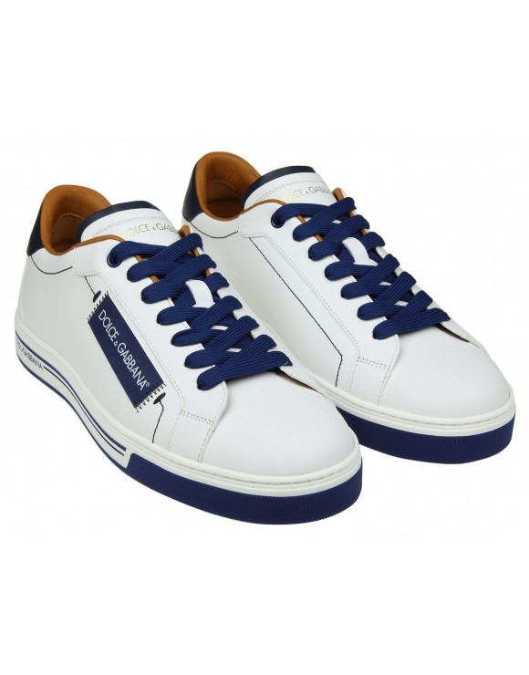 DOLCE & GABBANA SNEAKERS IN PELLE COLORE BIANCO