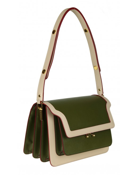MARNI BORSA MEDIA TRUNK BAG IN PELLE COLORE VERDE