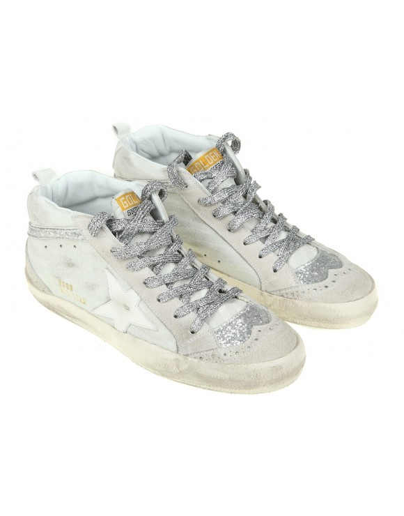 GOLDEN GOOSE SNEAKERS MID STAR IN CAMOSCIO COLORE BIANCO