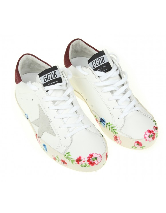 GOLDEN GOOSE SNEAKERS SUPERSTAR IN PELLE CON STAMPA A FIORI