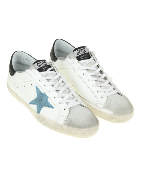 GOLDEN GOOSE SNEAKERS SUPERSTAR IN PELLE BIANCO CON STELLA BLU