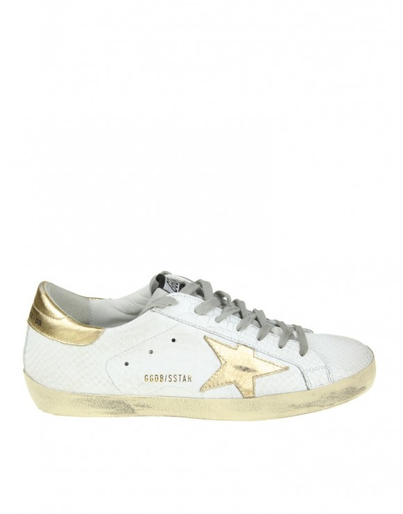 GOLDEN GOOSE SNEAKERS SUPERSTAR IN PELLE BIANCA E STELLA DORATA