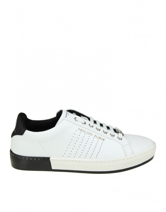 "PHILIPP PLEIN SNEAKERS ""ANOTHER NIGHT""  IN PELLE BIANCA"