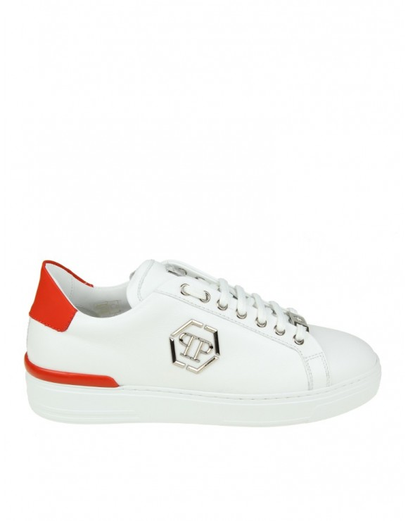"PHILIPP PLEIN SNEAKERS ""CARIBOU"" IN PELLE BIANCA CON LOGO APPLICATO"