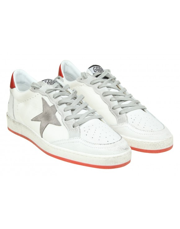 GOLDEN GOOSE SNEAKERS BALL STAR IN PELLE BIANCA