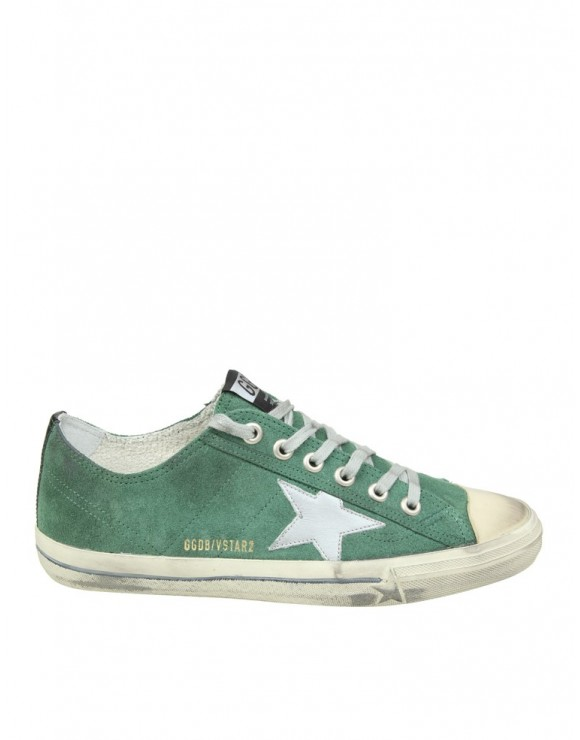 GOLDEN GOOSE SNEAKERS V-STAR 2 IN CAMOSCIO VERDE