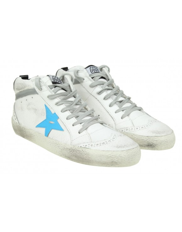 GOLDEN GOOSE SNEAKERS MID STAR IN PELLE BIANCA