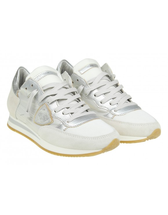 PHILIPPE MODEL SNEAKERS TROPEZ IN PELLE COLORE BIANCO/ARGENTO