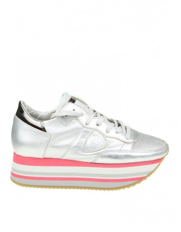 PHILIPPE MODEL SNEAKERS EIFFEL IN PELLE COLORE ARGENTO