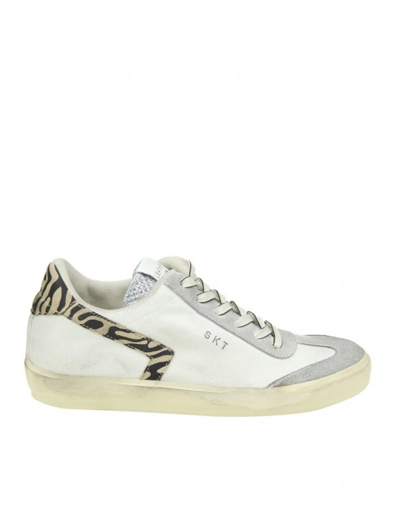 LEATHER CROWN SNEAKERS IN CANVAS COLORE BIANCO