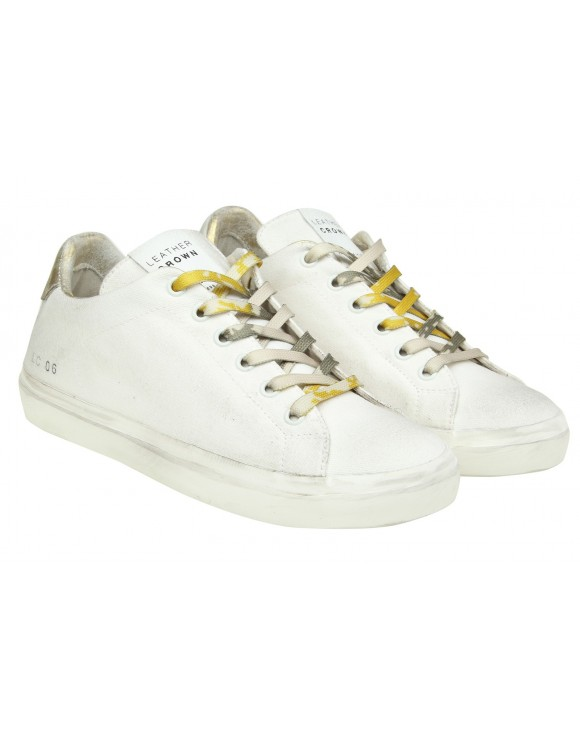 LEATHER CROWN SNEAKERS IN CANVAS BIANCO