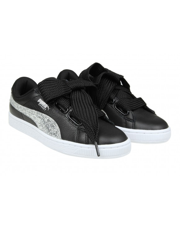 PUMA SNEAKERS BASKET HEART IN PELLE NERA