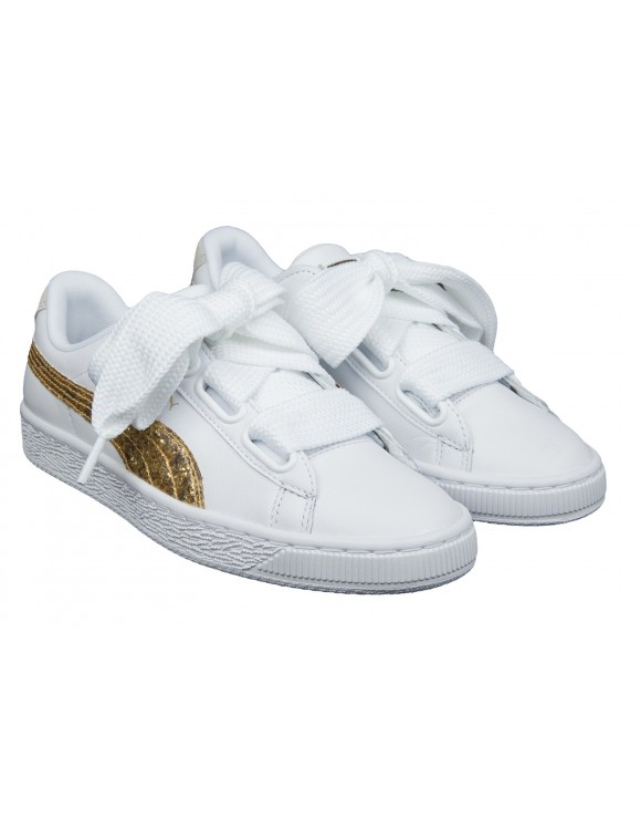 PUMA SNEAKERS BASKET HEART IN PELLE BIANCA