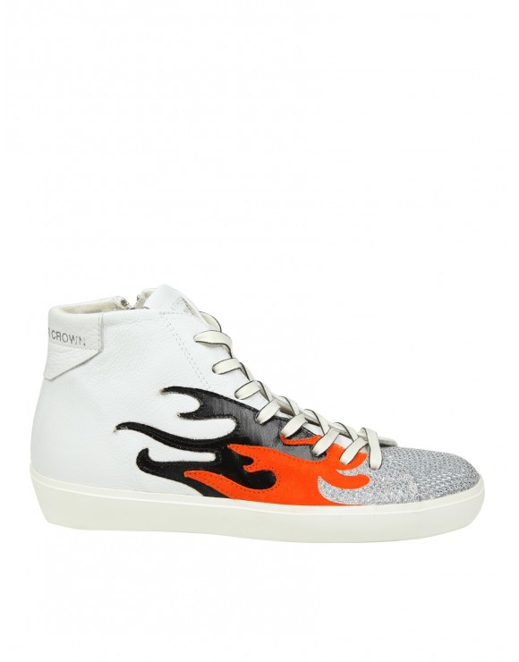 "LEATHER CROWN POLACCHINO ""W FIRE"" IN PELLE COLORE BIANCO"