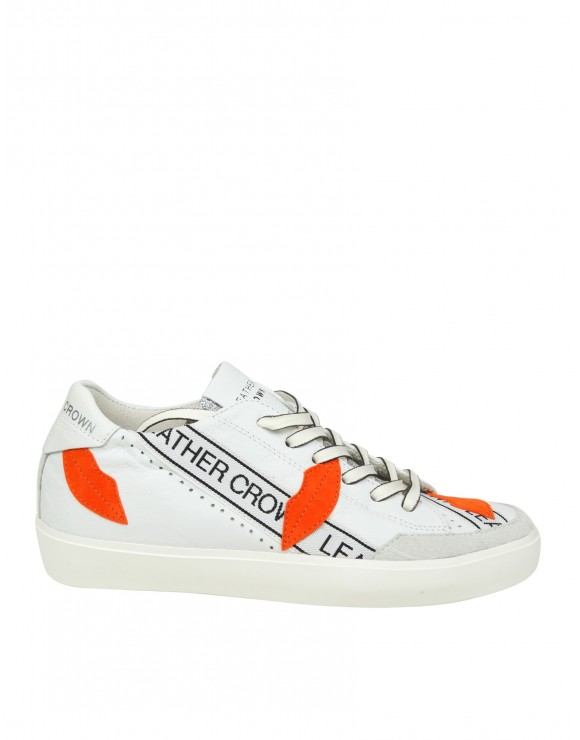 "LEATHER CROWN SNEAKERS ""W KISSLOW 2"" IN PELLE COLORE BIANCO"