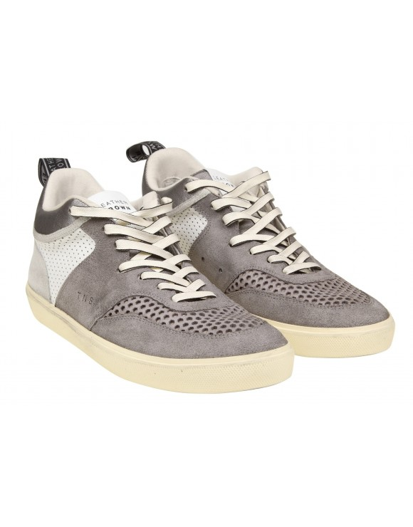 LEATHER CROWN SNEAKERS IN PELLE E CAMOSCIO GRIGIA