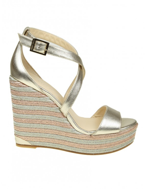JIMMY CHOO SANDALO IN PELLE METALLIZZATA