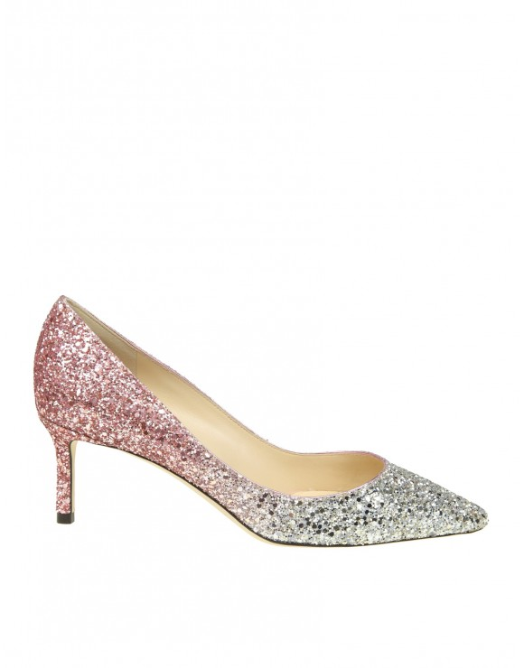 JIMMY CHOO DECOLLETE IN PLATINUM AND PINK GLITTER DEGRADE' FABRIC