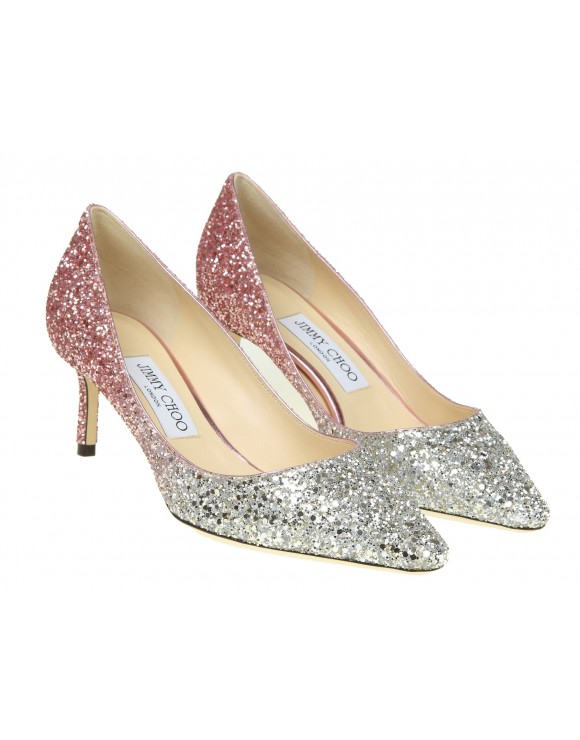 JIMMY CHOO DECOLLETE IN TESSUTO DEGRADE' GLITTERATO PLATINO E ROSA