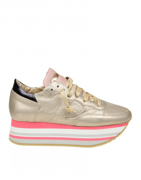 PHILIPPE MODEL SNEAKERS EIFFEL IN PELLE COLORE CHAMPAGNE