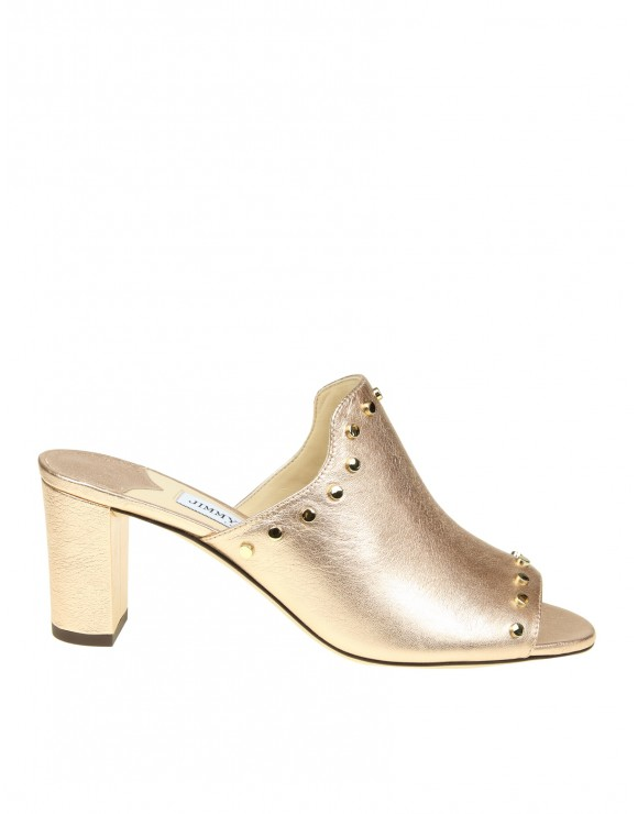 JIMMY CHOO MYLA SABOT IN LEATHER WITH APPLIED STUDS