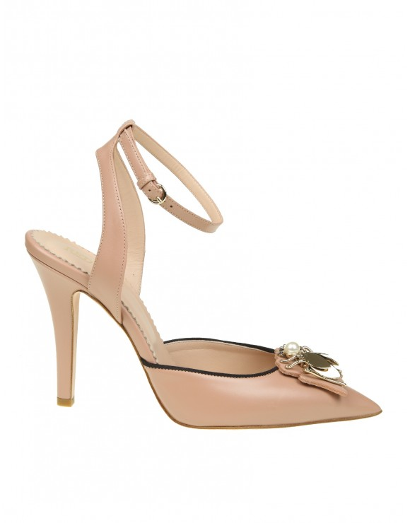 RED VALENTINO DECOLLETE ANKLE STRAP IN PELLE CON DECORO APPLICATO