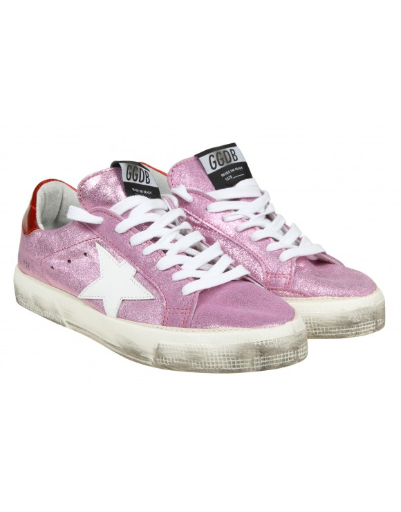 GOLDEN GOOSE SNEAKERS MAY in camoscio glitterato colore rosa