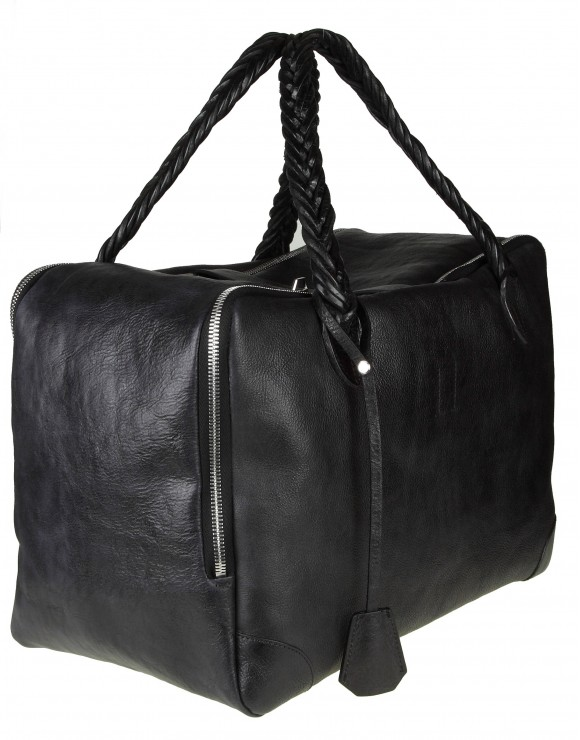 "GOLDEN GOOSE BORSA A MANO ""EQUIPAGE BAG M/M"" IN PELLE NERO"