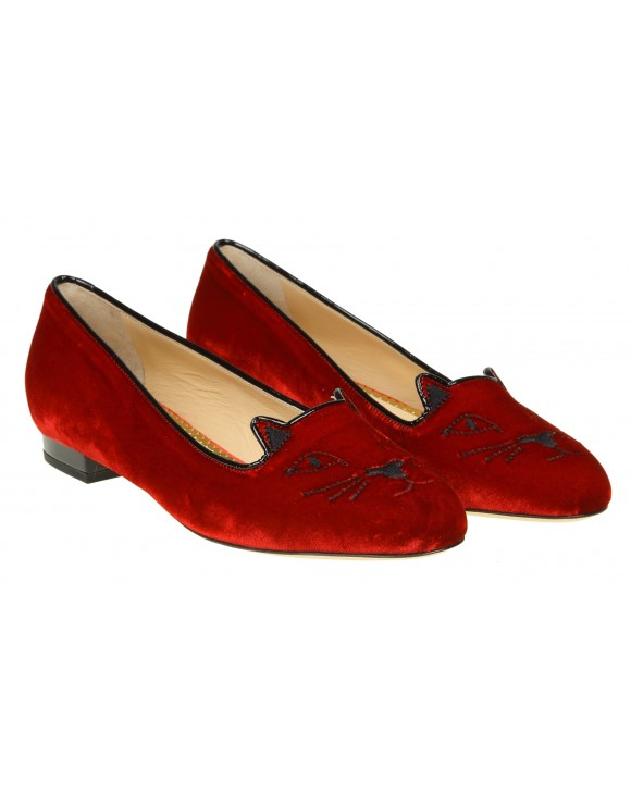 "CHARLOTTE OLYMPIA BALLERINA ""KITTY FLATS"" IN VELLUTO ROSSO"