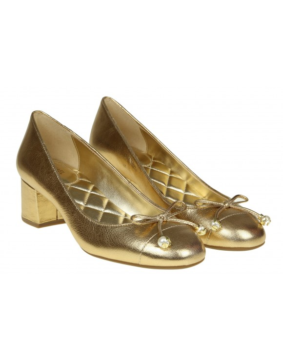 MICHAEL KORS DECOLLETE GIA FLEX MID PUMP IN PELLE LAMINATA ORO