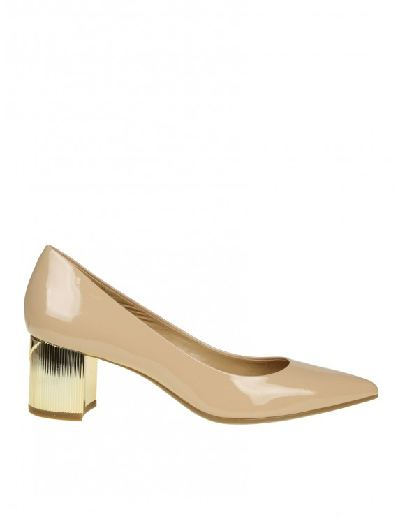 MICHAEL KORS DECOLLETE PALOMA FLEX MID PUMP IN PELLE LUCIDA