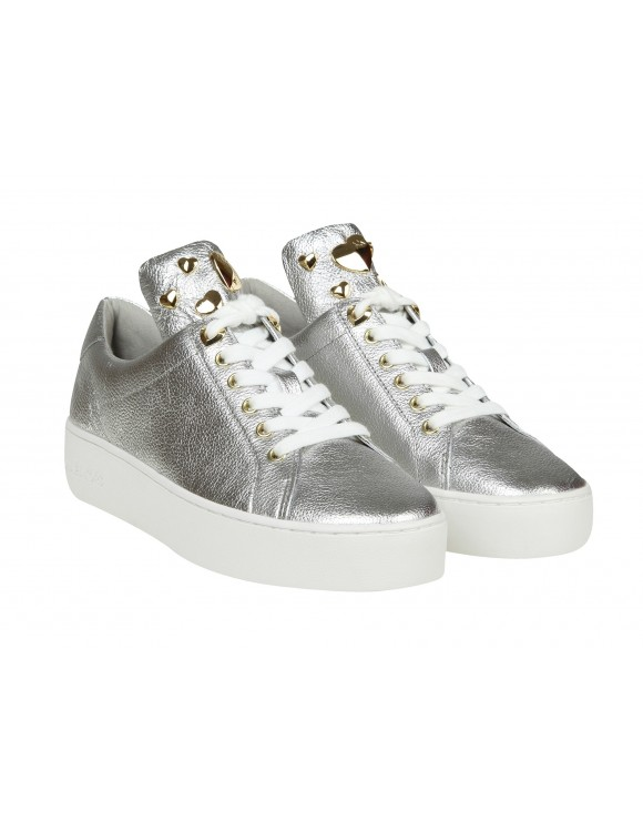 MICHAEL KORS SNEAKERS MINDY IN PELLE LAMINATA ARGENTO