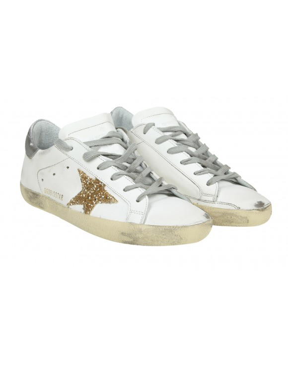 GOLDEN GOOSE SNEAKERS SUPERSTAR IN PELLE BIANCA CON STELLA GLITTERATA